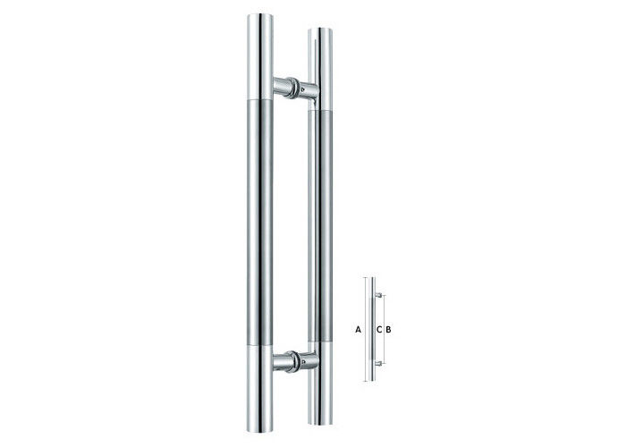 H Stainless Steel Sliding Glass Door Handles , Commercial Door Pulls SS201 SS304